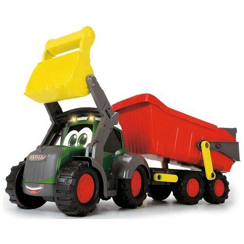 dickie toys машинка трансформер боевой трейлер optimus prime Трактор Dickie Toys Happy Farm трейлер (3819002), 65 см, красный/желтый/зеленый
