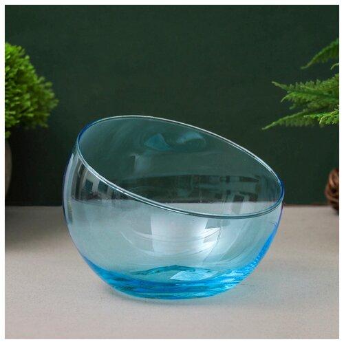 Фото - Ваза Анабель шаровая с косым резом голубая d-12см, h-9.5см 1668 783072 ваза шаровая d 14см 22х19см 5л 1001570