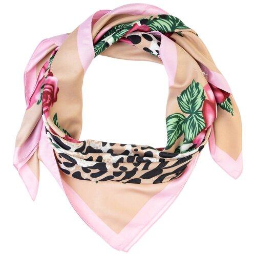 Шелковый платок на шею/Платок шелковый на голову/женский/Шейный шелковый платок/стильный/модный /21kdgpl326-849a8vr бежевый,розовый/Vittorio Richi/100% шелк/90x90