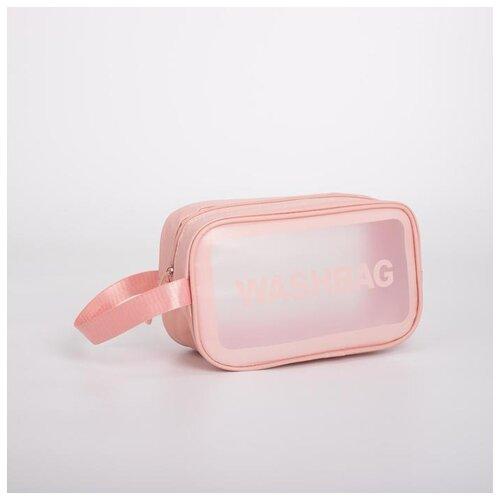 Косметичка ПВХ WashBag, 24,5*9,5*14,5 см, отдел на молнии с ручкой, розовый 5448326