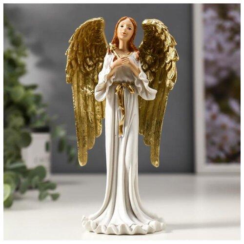 Сувенир полистоун Девушка ангел-хранитель с золотыми крыльями, в белом платье 16х8х5 см 4838697