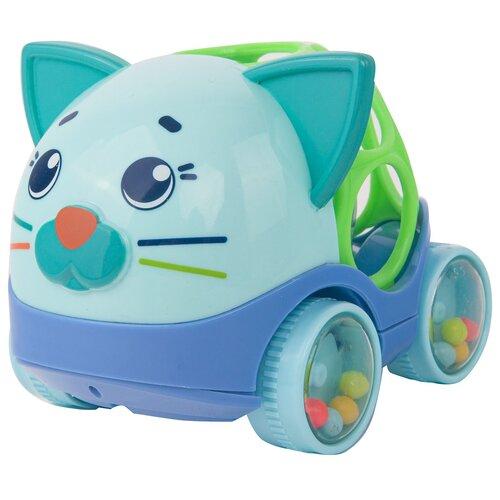 Купить Погремушка Happy Snail Машина-погремушка Котик Дарси 20HS03RC голубой/зеленый, Погремушки и прорезыватели