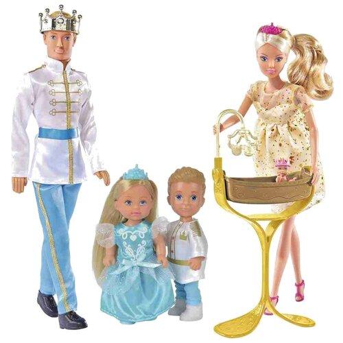 Фото - Набор кукол Steffi Love Королевская семья: Штеффи, Кевин, Еви, Тимми, 29 и 12 см, 5733184 набор кукол simba еви с малышом на прогулке розовая коляска 12 см 5736241 2