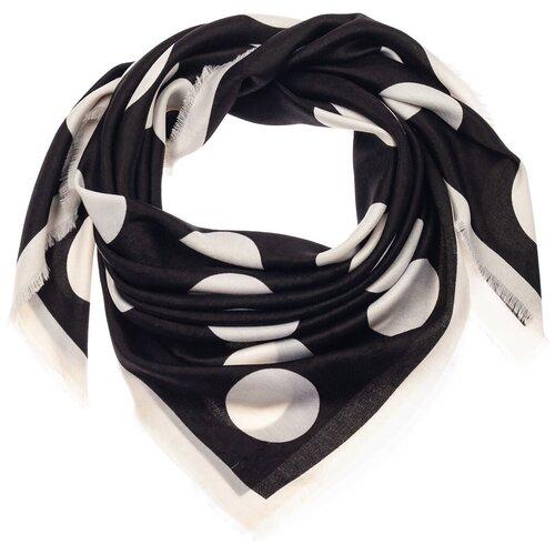 Шелковый платок на шею/Платок шелковый на голову/женский/Шейный шелковый платок/стильный/модный /21kdg1090-1vr черный,белый/Vittorio Richi/70% модал,15% шерсть,15% шелк/90x90