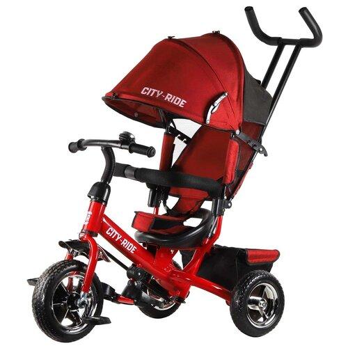 Купить Велосипед детский трехколесный City-Ride, колеса пластик 10/8, поворотное сиденье, велосипед для детей, для малышей, с родительской ручкой, бампер, багажник, цвет красный, Трехколесные велосипеды