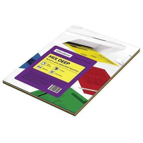 Фото - Бумага OfficeSpace A4 Mix Deep 245198 80г/м2 100лист, разноцветный бумага officespace a4 pale 80г м2 50лист цветная фиолетовый