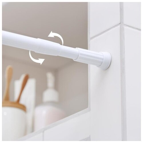 Карниз для ванной комнаты 70-120 см белый 2372385 карниз для ванной комнаты раздвижной 70 120 см 22 мм цвет хром