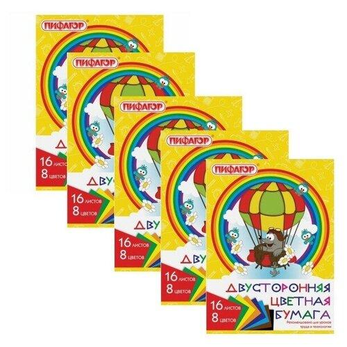 Купить Цветная бумага Крот-пилот Пифагор, A4, 16 л., 8 цв. 5 наборов в уп., Цветная бумага и картон