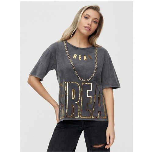 Женские футболки с надписями Серый, 46