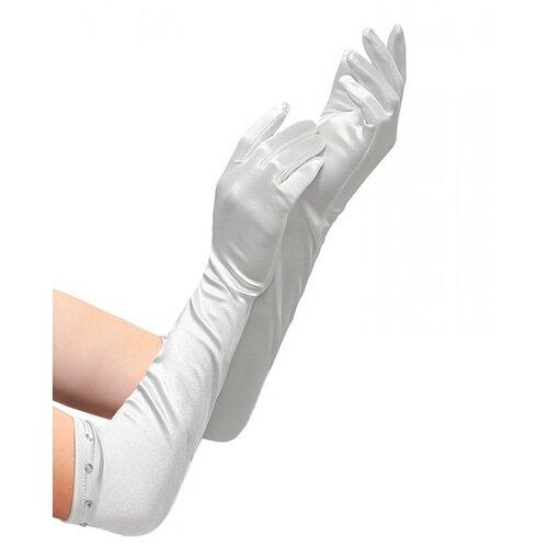 Купить Белые перчатки со стразами (детские), WIDMANN, Карнавальные костюмы