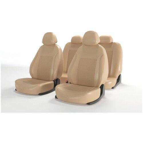Универсальные чехлы на автомобильные сиденья CarFashion ATOM LEATHER бежевый/бежевый/бежевый