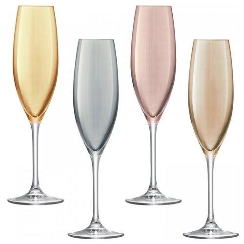 Бокал-флейта для шампанского Polka 4 шт. металлик LSA G978-09-960 бокал для белого вина pearl 4 шт lsa g1332 12 401