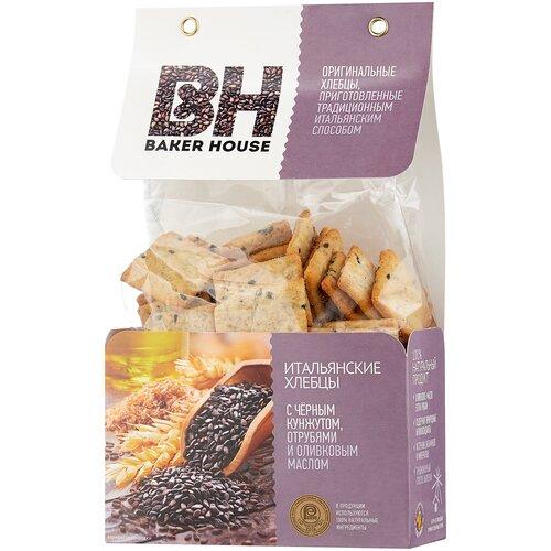 Хлебцы итальянские пшеничные BAKER HOUSE с черным кунжутом, отрубями и оливковым маслом 250 г крекеры ufeelgood рисовые с черным кунжутом 60 г