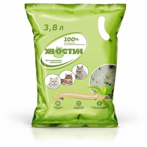 Фото - Впитывающий наполнитель Хвостун силикагелевый с ароматом зеленого чая, 3.8 л впитывающий наполнитель for cats с ароматом зеленого чая 4 л