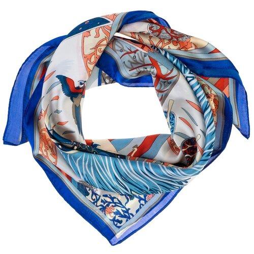 Шелковый платок на шею/Платок шелковый на голову/женский/Шейный шелковый платок/стильный/модный /21kdg70951101-2vr синий,белый/Vittorio Richi/80% шелк,20% полиэстер/70x70