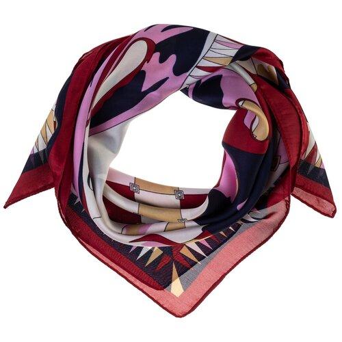 Шелковый платок на шею/Платок шелковый на голову/женский/Шейный шелковый платок/стильный/модный /21kdg70951101-13vr бордовый,синий/Vittorio Richi/80% шелк,20% полиэстер/70x70