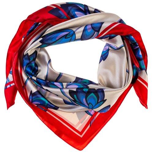 Шелковый платок на шею/Платок шелковый на голову/женский/Шейный шелковый платок/стильный/модный /21kdgPL903009-2vr серый,синий/Vittorio Richi/80% шелк,20% полиэстер/90x90