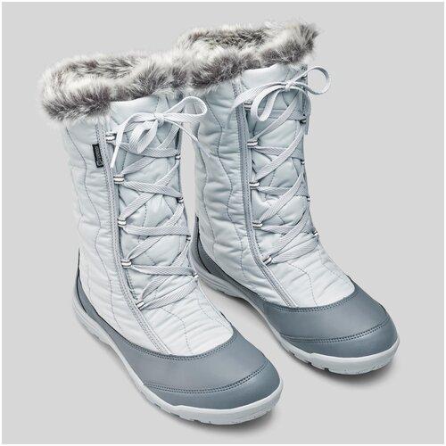 Сапоги зимние утепленные непромокаемые высокие SH500 Х–WARM на шнурках женские, размер: EU36, цвет: Перламутровый Серый QUECHUA Х Декатлон