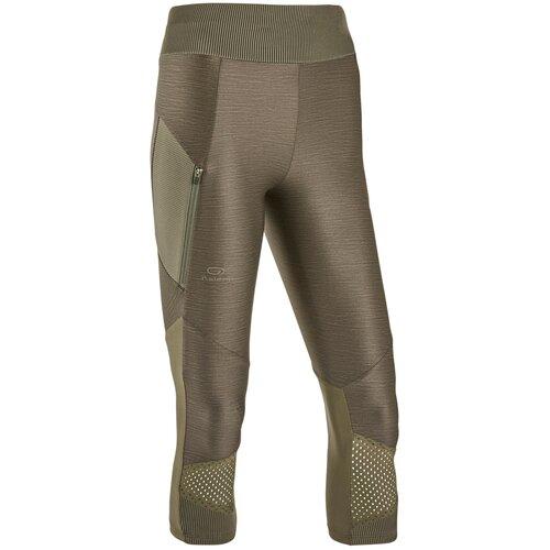 Тайтсы для бега женские RUN DRY+ FEEL хаки, размер: S / W28 L31, цвет: Тёмный Хаки/Чёрно-Зелёный Цвет KALENJI Х Декатлон