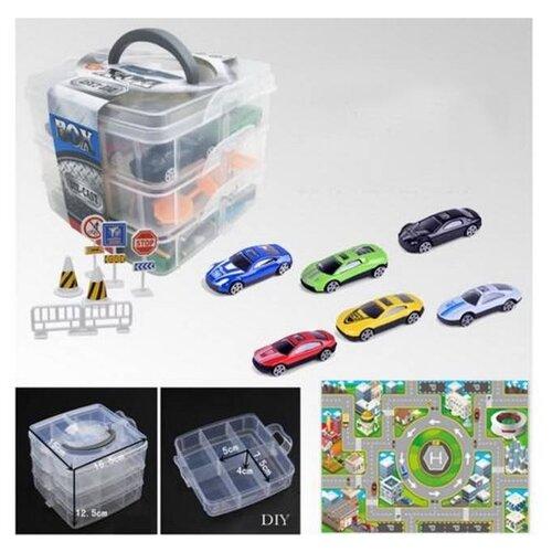 Купить Набор машинок Junfa металл, в пластиковом контейнере, М 1:64, 6 штук, с аксессуарами, 16*16*12, 5 см (JH933-K6), Junfa toys, Машинки и техника