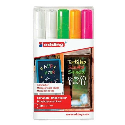 Купить Маркеры меловые EDDING 4095 НАБОР 5 шт., 2-3 мм, АССОРТИ, влагостираемый, для гладких поверхностей, E-4095/5S 151333, Фломастеры и маркеры