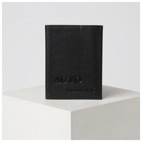 Обложка для автодокументов 2в1 (портмоне) 10,5*0,5*13,5см, флотер, черный 5243342