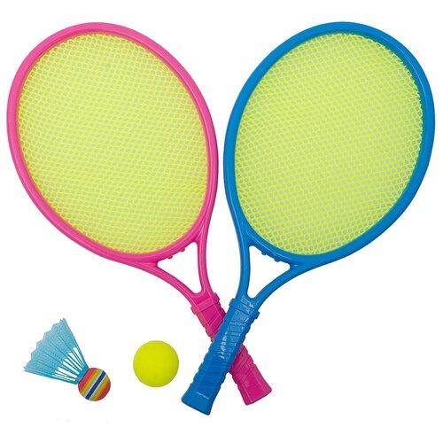 Игра Бадминтон детский 2 ракетки, мяч, воланчик пластиковый 9906B в сетке