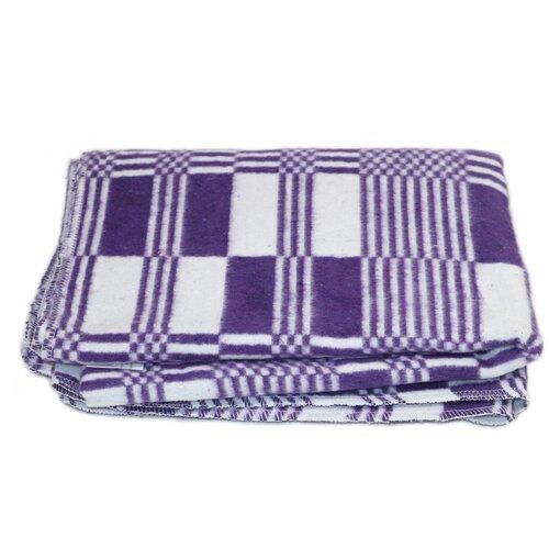 Одеяло байковое детское Вулли Вул Текс 100х140 см, фиолетовые прямоугольники