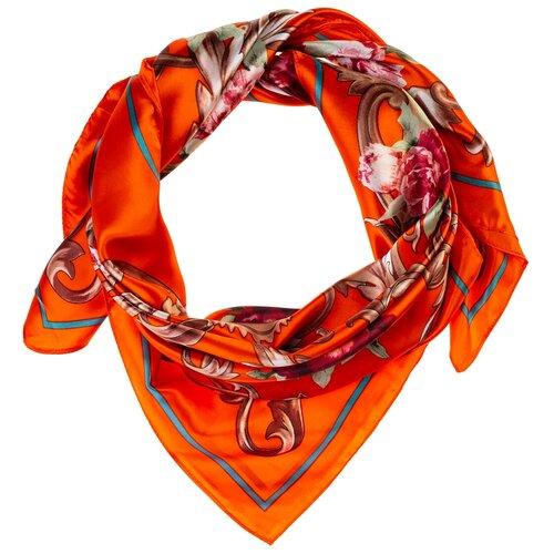 Шелковый платок на шею/Платок шелковый на голову/женский/Шейный шелковый платок/стильный/модный /21kdgPL903015-2vr оранжевый, коричневый/Vittorio Richi/80% шелк,20% полиэстер/90x90
