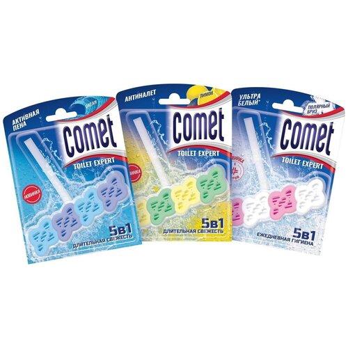 Comet туалетные блоки 5 в 1: лимон, океан, полярный бриз, 3 шт. comet туалетный блок toilet expert антиналет лимон 1 шт