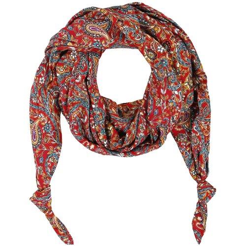 Шарф женский весенний, штапель, красный, оранжевый, двойной шарф-долька Оланж Ассорти серия Сингапур с узелками