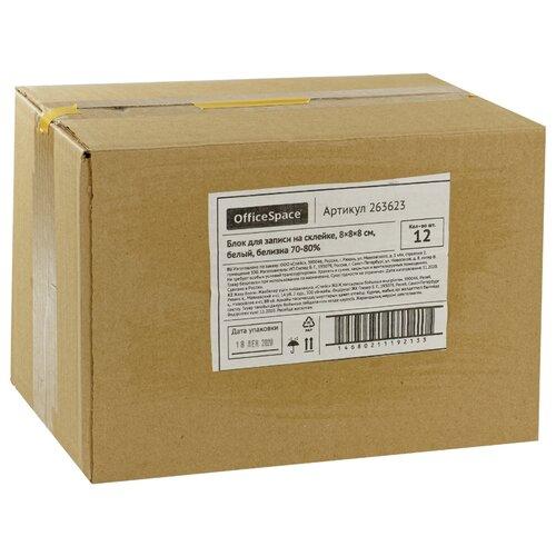Купить OfficeSpace Набор блоков для записи 8х8х8 см, белизна 70-80% (263623) 12 шт белый, Бумага для заметок