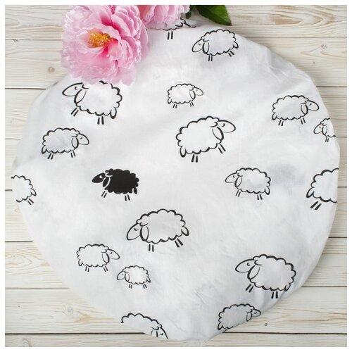 Купить Amarobaby Простыня круглая на резинке Овечки 75 х 75 х 12 см белый, Постельное белье и комплекты