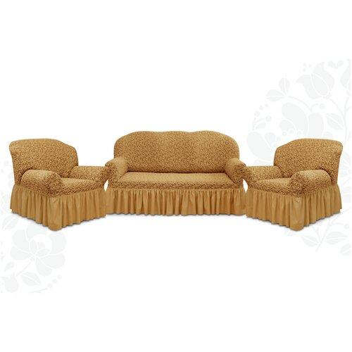 Чехлы с оборкой Евро Престиж дизайн 10034 на Диван+2 Кресла, кофе с молоком