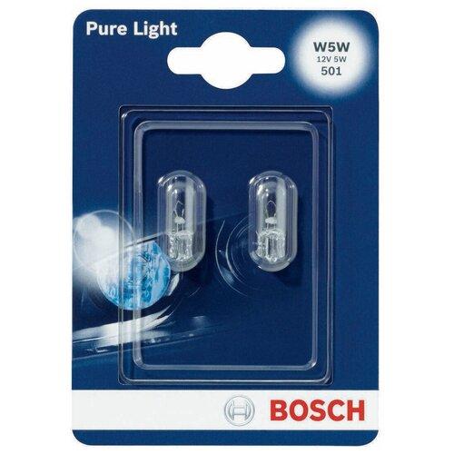 Фото - Лампа автомобильная накаливания Bosch Pure Light 1987301026 W5W 12V 5W 2 шт. лампа автомобильная накаливания bosch pure light 1987301017 p21w 12v 21w 2 шт