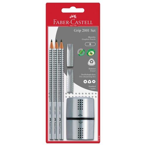 Faber-Castell Набор карандашей чернографитных Grip 2001 B, 3 шт, ластик-колпачок 2 шт и точилка (117098) серый недорого