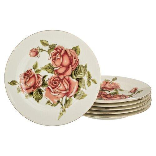 Lefard Набор тарелок Корейская роза 19 см, 6 шт. белый/розовый lefard заварочный чайник корейская роза 1 3 л белый розовый золотой