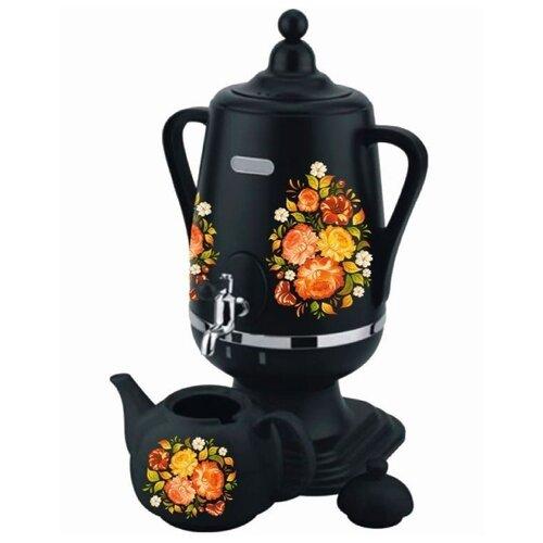 Самовар Добрыня DO-430/431, черный/цветы
