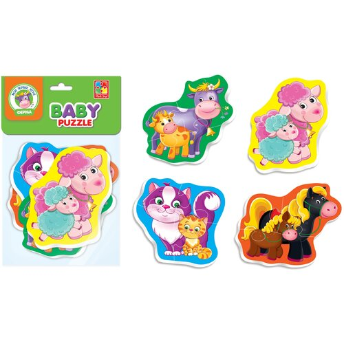 Купить Мягкие пазлы Baby Puzzle Мама и малыш 4 картинки, 12 эл., Vladi Toys, Пазлы
