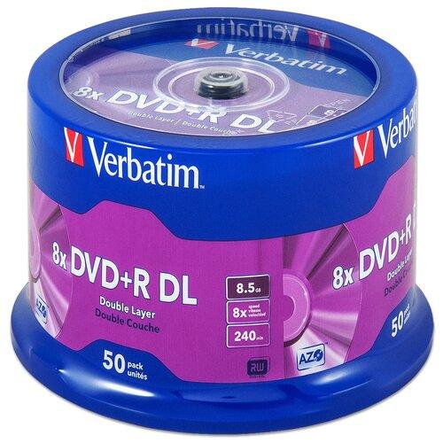 Диск DVD+R DL 8.5Gb Verbatim 8x Double Layer cake, упаковка 50 штук (43758)