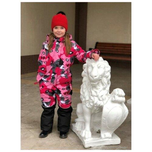 Купить Зимний детский комбинезон Lapland для девочек мембрана Маковка размер 128, малина, Комбинезоны