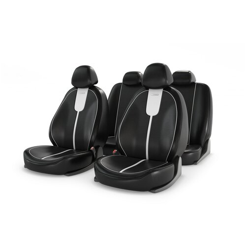 Универсальные чехлы на автомобильные сиденья CarFashion GALS белый/черный/белый