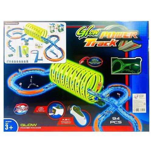 Радиоуправляемый детский трек Glow Power Track 88808, 94 детали, светится в темноте, 2 машинки, на пульте управления, 148х74х23 см