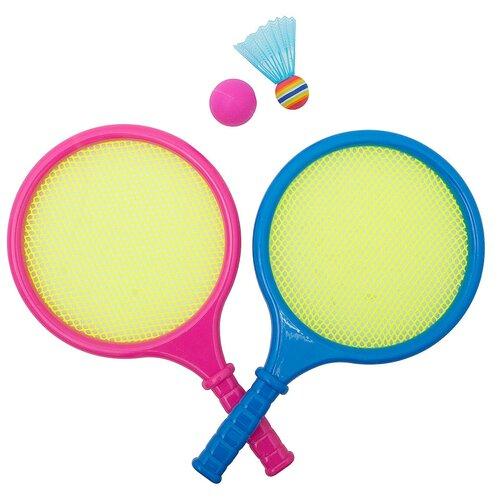 Игра Бадминтон детский 2 ракетки, мяч, воланчик пластиковый 9903B в сетке