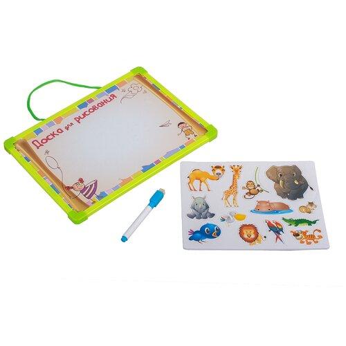 Доска для рисования магнитная, 2-х сторонняя с животными и маркером