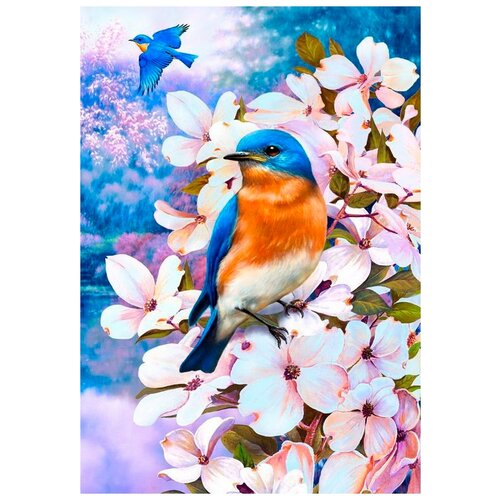 Картина стразами Птичка на цветущей ветке 30 х 40 см Ah5156 недорого