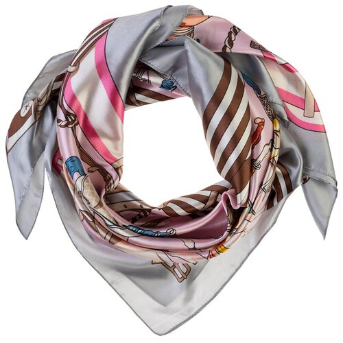Шелковый платок на шею/Платок шелковый на голову/женский/Шейный шелковый платок/стильный/модный /21kdg9095495-1vr серый,розовый/Vittorio Richi/80% шелк,20% полиэстер/90x90