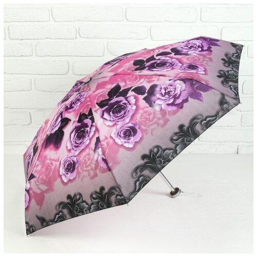 Зонт жен мех R47 4сл 7спиц П/Э Мини Цветы руч круг сирен 3090559