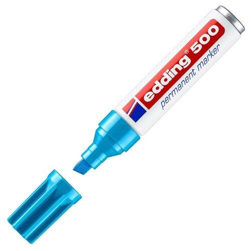 Купить Маркер перманентный EDDING 500/10 голубой 2-7мм скошенный наконечник, Маркеры