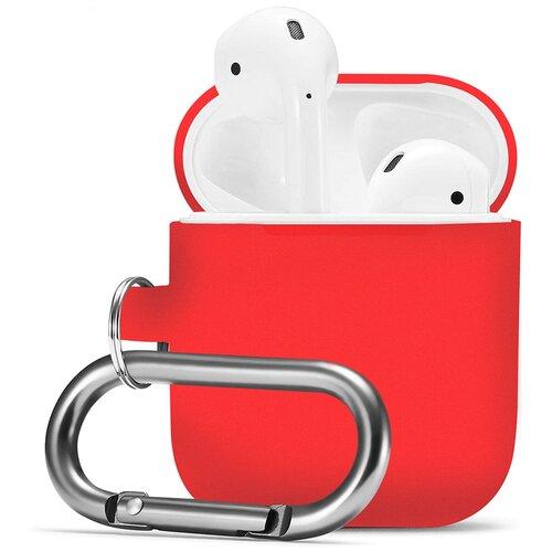 Чехол для наушников Apple AirPods, AirPods 2 с карабином / Чехол на кейс Эпл ЭирПодс 2 с поддержкой беспроводной зарядки / Силиконовый чехол для беспроводных блютуз наушников (Red)